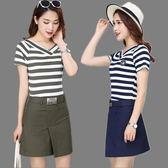 夏季新款時尚套裝韓版顯瘦條紋短袖T恤 包臀半身裙短裙兩件套 QQ2988『樂愛居家館』