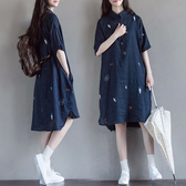 大碼洋裝 原創棉麻襯衣女2020夏季新款寬鬆文藝印花中長款森女繫洋裝 中秋降價