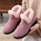 冬季提花棉雪地靴老北京布鞋保暖加絨女短靴平跟軟底防滑中老年媽媽棉鞋