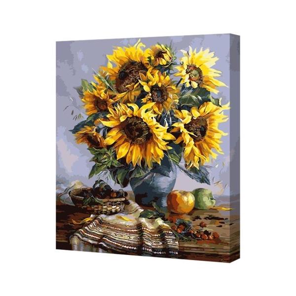 易卓 diy數字填色畫油畫diy手繪裝飾畫掛畫減壓水墨油彩畫 花卉