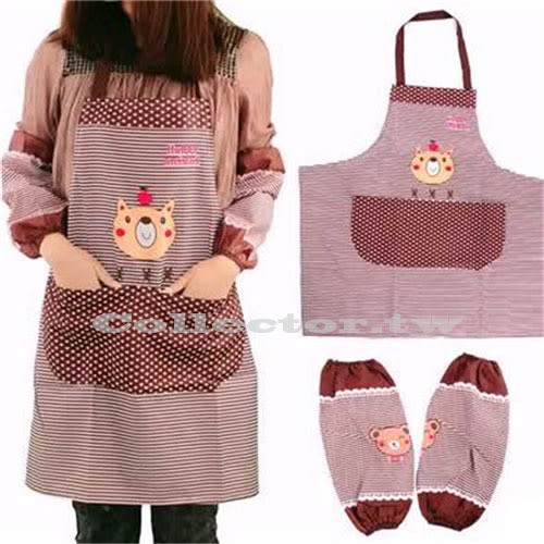 韓版小熊條紋防水圍裙 附袖套 卡通廚房家事圍裙