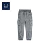 Gap男童 柔軟針織襯裏工裝風束口褲491886-灰色暗紋
