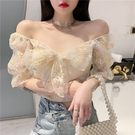 泡泡袖上衣 2021年新款性感網紗方領法式短款上衣女夏季泡泡袖設計感短袖襯衫 晶彩 99免運
