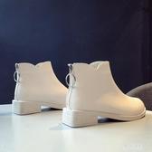 英倫風馬丁靴中跟女靴粗跟圓頭短靴女新款2019潮女鞋高跟白色皮鞋YJ605【雅居屋】