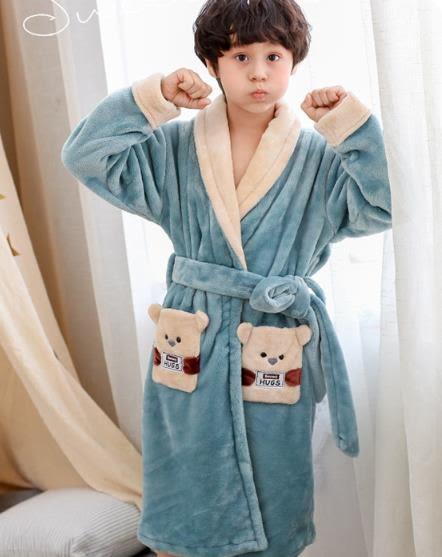 兒童睡袍男孩長袖法蘭絨睡衣加絨加厚小孩長袍大童男童浴袍  綠光森林