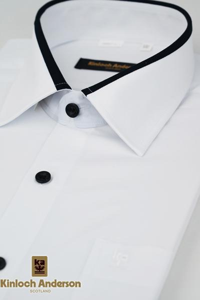 【金‧安德森】白色黑領圈吸排窄版長袖襯衫