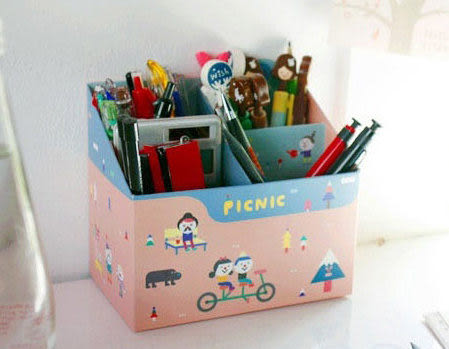韓國  DIY桌上收納盒/筆筒 整理盒 兩款供選 鉛筆多功能收納盒【美日多多】