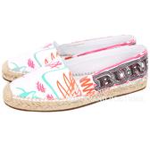 BURBERRY 塗鴉印花塗層棉質麻織鞋(女鞋/白色) 1820078-20