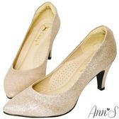 Ann'S睡美人-訂製晶鑽羊皮3D氣墊尖頭高跟鞋-金