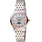 康斯登CONSTANT經典超薄月相女腕錶  FC-206MPWD1S2B   玫瑰金x銀