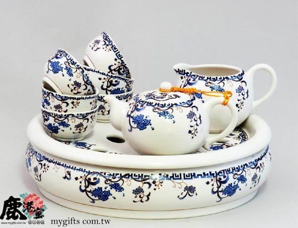 【鹿港窯】描金鹽水燒茶盤茶具組(紫籐花卉)定窯白瓷
