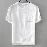 亞麻T恤-休閒口袋棉麻拼接短袖男上衣73xf10【巴黎精品】