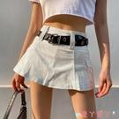 超短裙街頭工裝風辣妹炸街超短裙百搭牛仔素色側口袋半身裙 愛丫