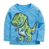 童裝 現貨 純棉拉架恐龍車車長袖T恤-06款水藍色【94241】