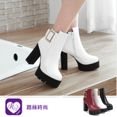 韓系個性OL方扣拉鍊圓頭高跟短靴/3色/35-43碼 (RX1291-6-1) iRurus 路絲時尚