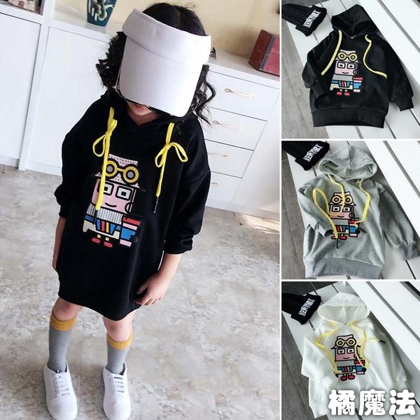 膠印連帽長版衛衣 (有分一般款和厚款) 帽T 橘魔法 Baby magic 現貨 童裝 女童 中童