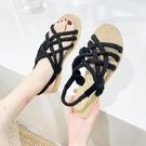 草編鞋 涼鞋女春夏新款平底百搭草編鞋子麻繩沙灘鞋交叉綁帶女鞋-Ballet朵朵