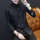 夏季青少年長袖襯衫男士韓版修身型黑色襯衣潮男裝休閒外套衣服寸