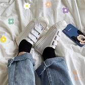 帆布鞋魔術氈學生餅乾鞋休閒鞋小白鞋布鞋【橘社小鎮】