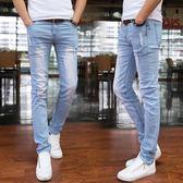 牛仔褲 夏季彈力牛仔褲男士韓版修身小腳褲潮男裝休閒薄款破洞鉛筆男褲子【諾克男神】