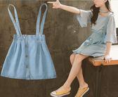夏季新款中大童高腰牛仔背帶半身裙(七碼可選)