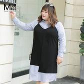 Miss38-(現貨)【A07247】純色百搭黑 不對襯下擺 細肩帶可調 大尺碼吊帶 背心 - 中大尺碼女裝