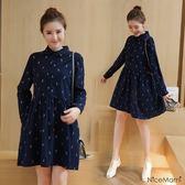 漂亮小媽咪 韓系洋裝 【D7023】 襯衫領 小鹿鹿 長袖 開扣 連身裙 純棉 孕婦裝洋裝
