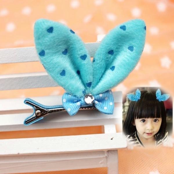 毛絨兔耳朵蝴蝶結髮夾 表演穿搭配件(藍色1個)-艾發現
