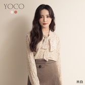 東京著衣【YOCO】韓妞必備蝴蝶結領小碎花雪紡上衣(191643)