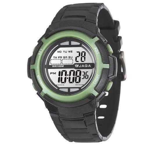 JAGA 捷卡 多功能電子錶 休閒錶 38mm 手錶 女錶 男錶 學生錶 M1085-AF 黑綠