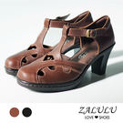 ZALULU愛鞋館 Z1203 性感簍空系帶防水台羅馬高跟鞋-黑色/咖啡-35-39