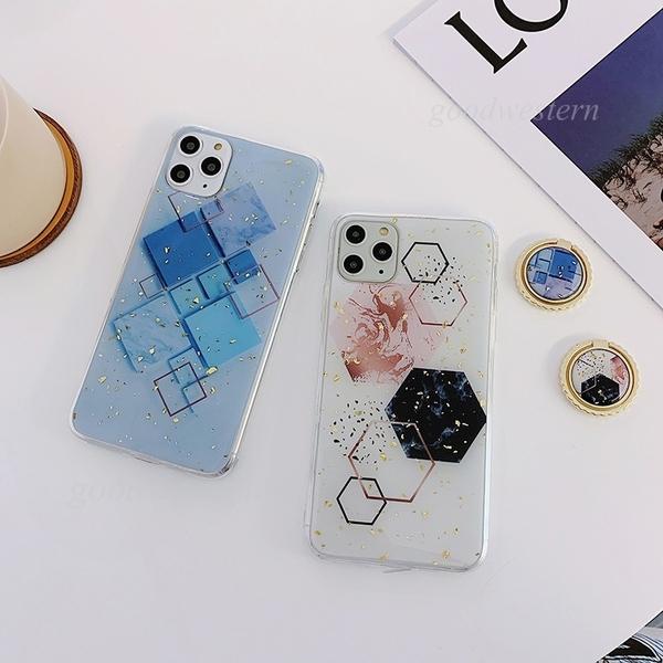 菱形幾何圖 iPhone SE2 XS Max XR i7 i8 i6 i6s plus 手機殼 花邊指環扣 影片支架 滴膠軟殼 全包防摔殼