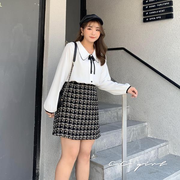 中大尺碼 小香風修身A字裙 - 適XL~4L《 79140 》CC-GIRL