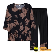 兩件式棉麻褲裝 奶奶裝套裝女中老年人夏裝短袖T恤媽媽棉麻兩件套70-80歲太太衣服【happybee】