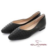 【CUMAR】皮革編織小方頭平底鞋(黑色)