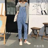 秋裝新款韓版牛仔背帶褲女寬鬆顯瘦學生百搭小清新連體九分褲 芊惠衣屋