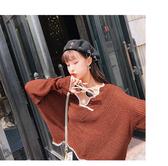#針織衫#滾邊#V領 鏤空 罩衫 透視 短版 長袖 針織衫【NDF5318】 icoca
