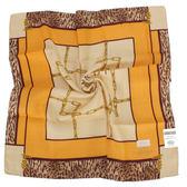 TRUSSARDI 方鍊虎紋飾邊混棉帕巾(米/黃)989045-39