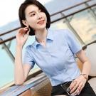 簡單修身V領OL短袖上班襯衫上衣[20X...