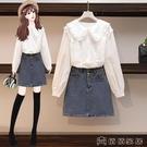 兩件套 年秋裝新款清純套裝女時尚氣質雪紡襯衫牛仔裙兩件套洋氣減齡 萬聖節 【618特惠】