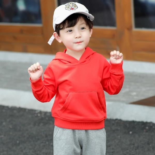 基本款毛圈棉素色連帽上衣 長袖上衣 連帽上衣 帽T 中性款 男童 女童 童裝 兒童 橘魔法 現貨