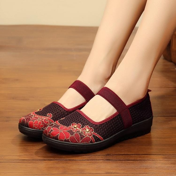 老北京布鞋女單鞋防滑軟底透氣大碼休閒繡花媽媽中老年人奶奶網鞋