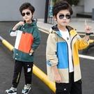 男童外套韓版外套 秋季中大童百搭夾克外套 時尚男童外套 簡約風衣男童外套 印花拼色潮流外套
