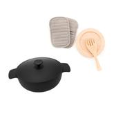 組鑄鐵黑琺瑯煎湯兩用鍋25cm +廚房 三件組