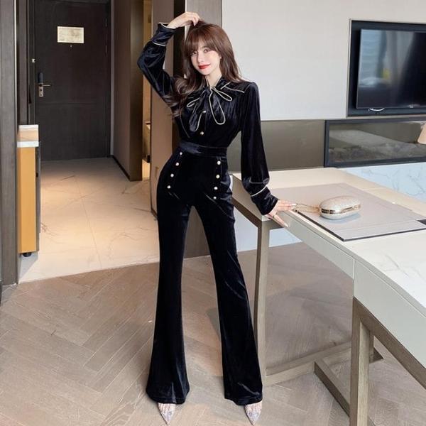 時尚女神范顯瘦套裝2020秋冬季新款金絲絨上衣高腰喇叭長褲兩件套