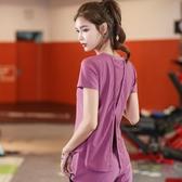 網紅健身服上衣女瑜伽服夏季薄款性感寬鬆短袖速干透氣運動t恤女