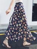 長裙女夏新款雪紡一片式中長款碎花海邊度假沙灘裹裙半身裙子 時尚芭莎
