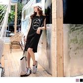 《DA7835-》棉質英文印花柔軟舒適側開衩無袖洋裝 OB嚴選
