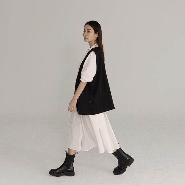 Queen Shop【01085371】縮腰綁帶設計棉質排釦洋裝 兩色售*現+預*
