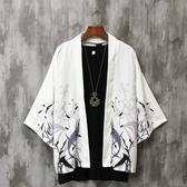 夏季七分袖襯衫男寬鬆中國風男裝防曬外套薄款古風很仙的情侶道袍 Korea時尚記